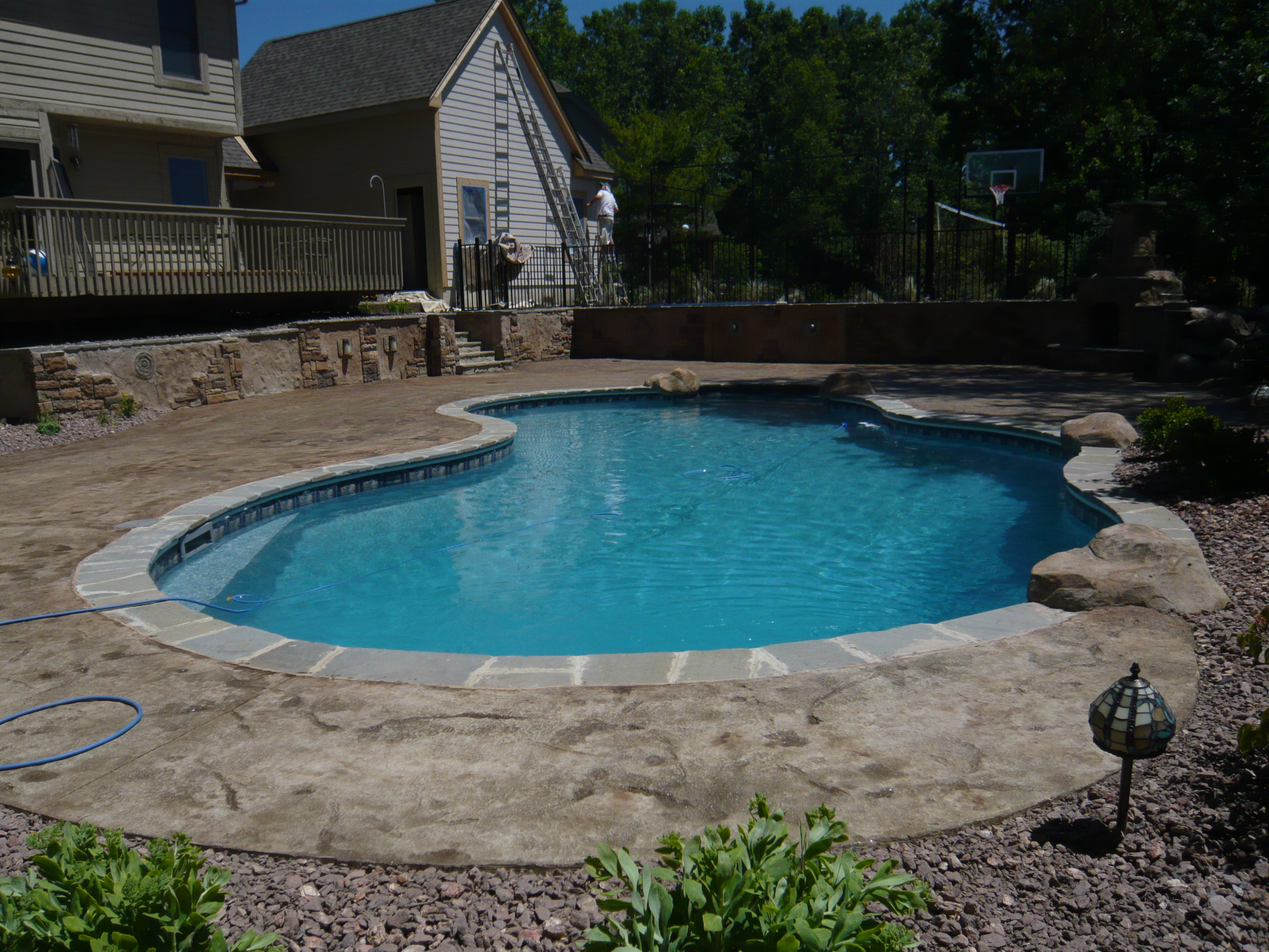 Legendary Escapes Debest July 2010 Vinyl Liner Pool And Retaining Wall Firepit By Legendary