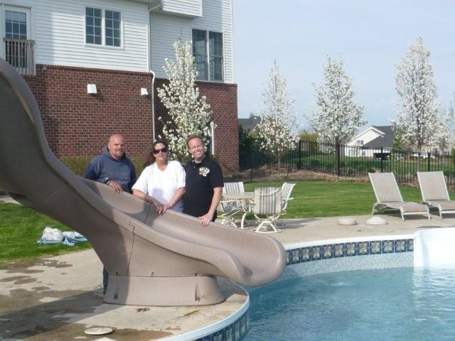 Happy Satisfied Customers in Milford, MI with a really, really big slide!