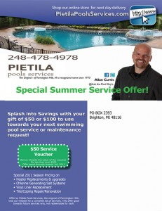 Service Coupon from Pietila Pools Services for New and Existing Customers