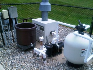 System with a top mounted multiport valve and sand filter
