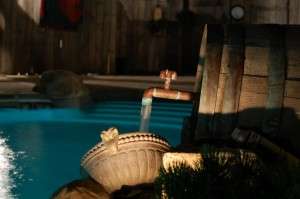 Southern France Themed Pool complete with Wine Barrel Spillover Fountain in Michigan!