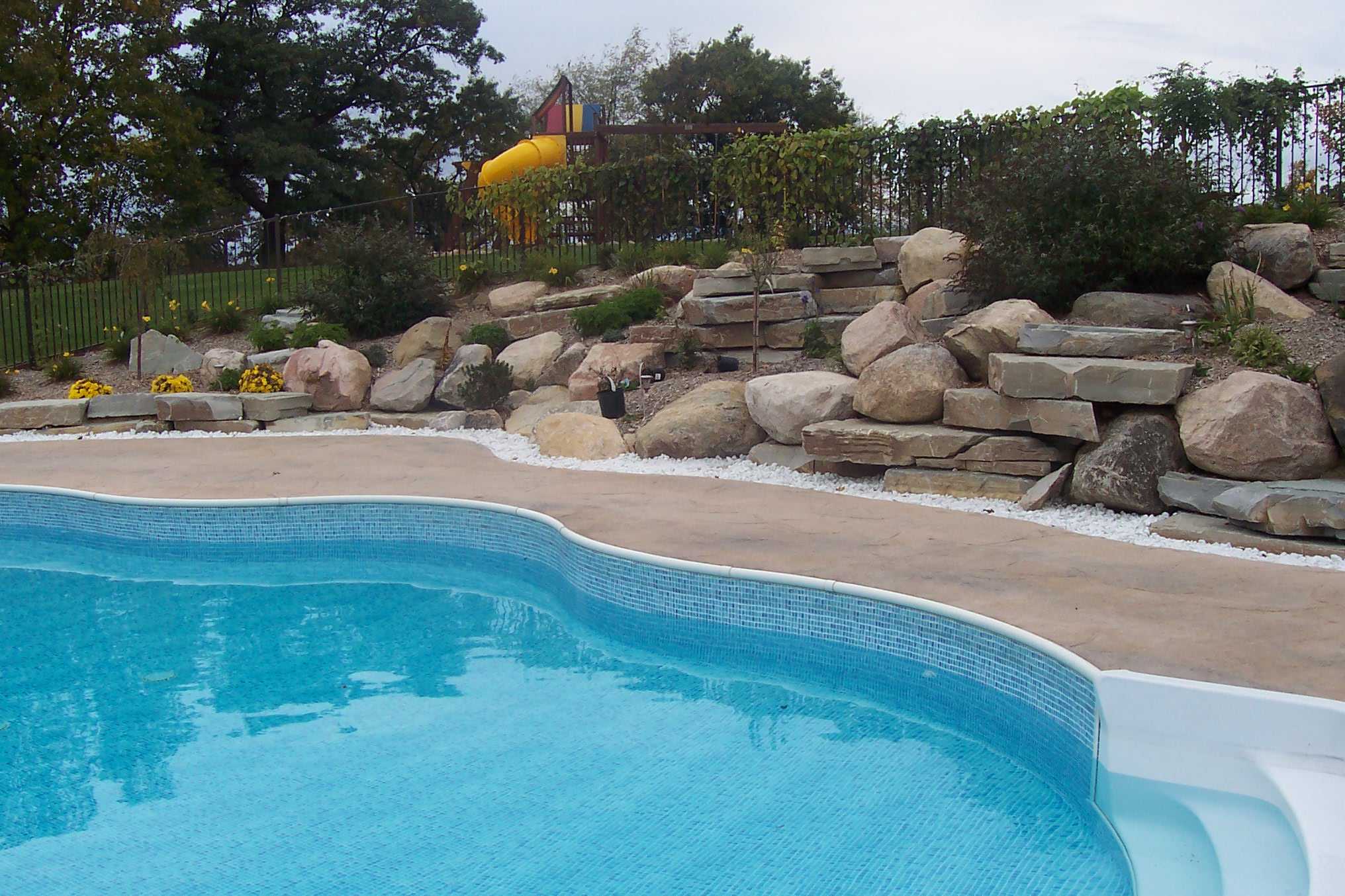Example Of A Pool With Standard Coping Liner Track All As One Piece