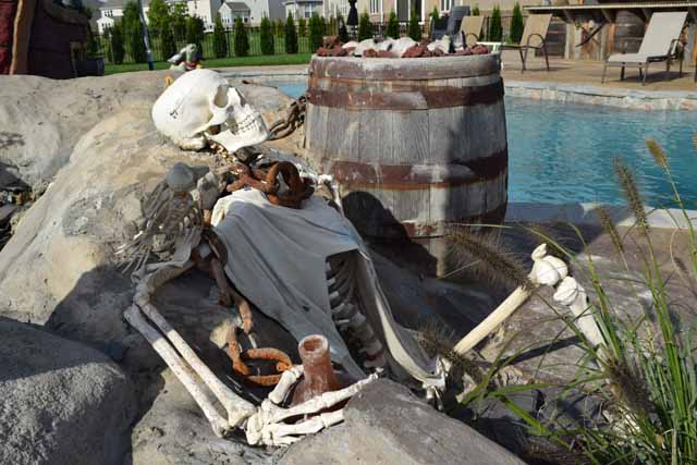 Lifesize Skeleton relaxing near Pirate Shipwreck.pool area