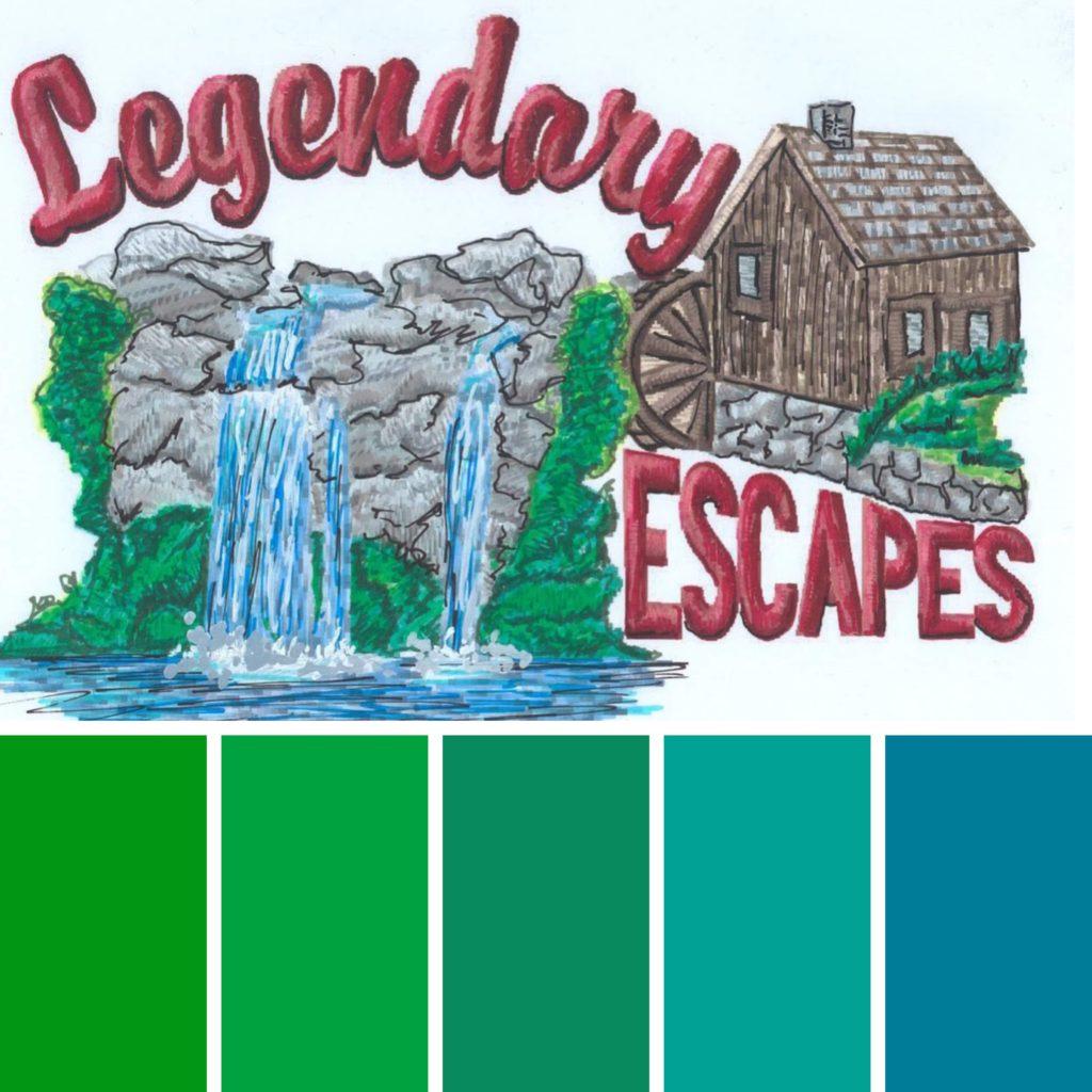 Color Palette Legendary Logo Embroidered Vintage Legendary Escapes Pools